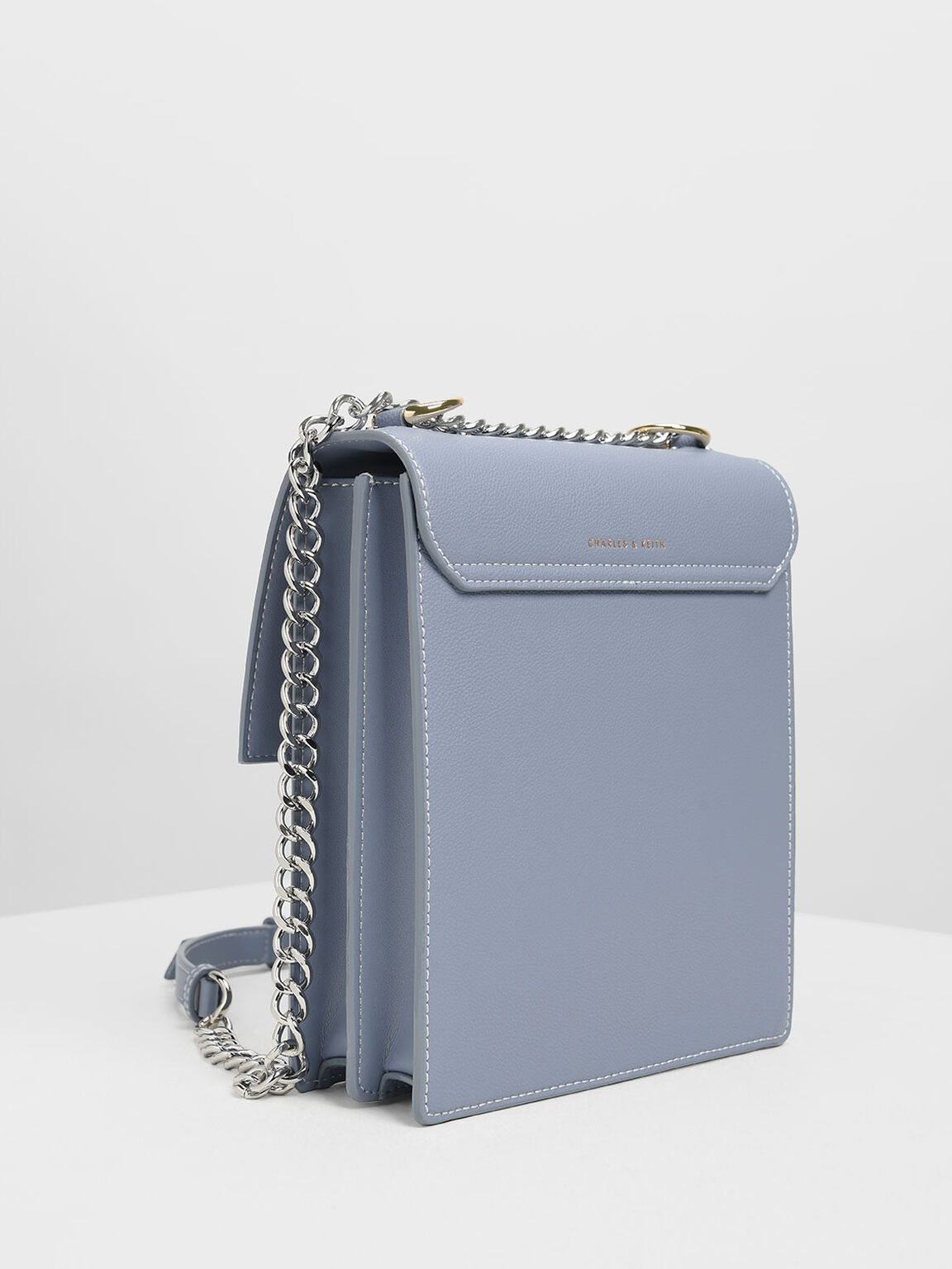 Chain Strap Portrait Messenger Bag, Blue, hi-res