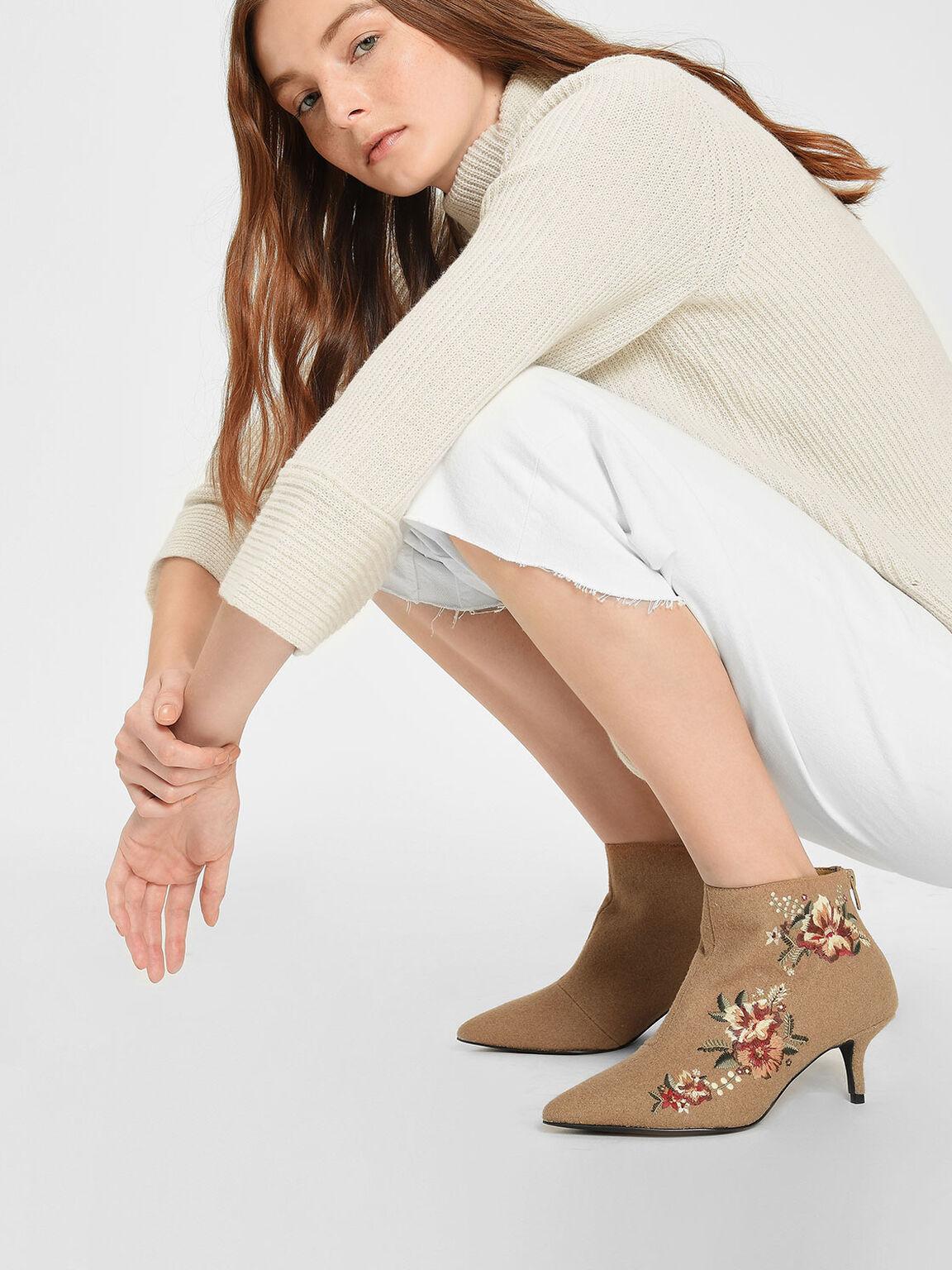 Floral Embroidery Kitten Heel Boots, Beige, hi-res
