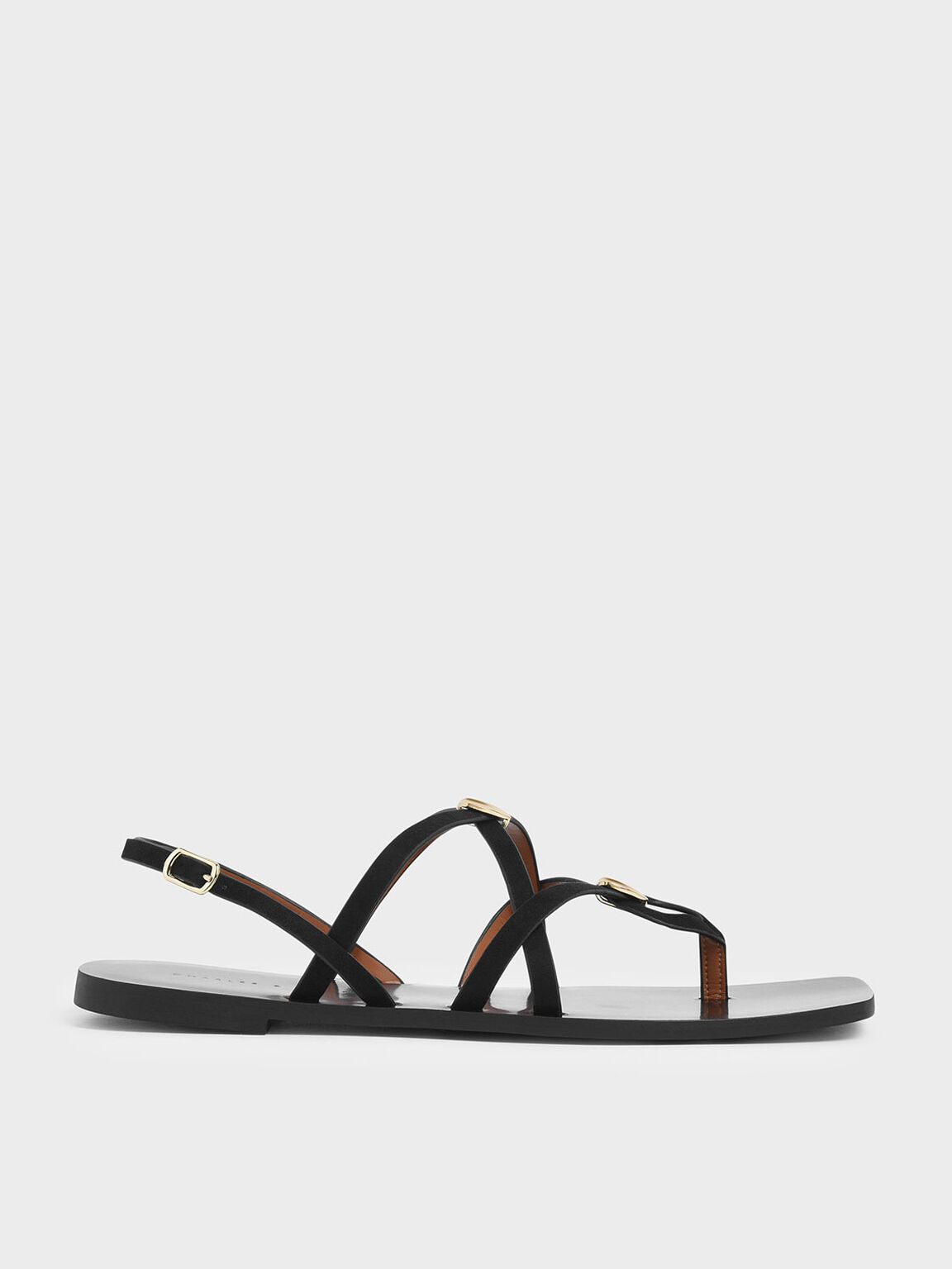 Criss Cross Metal Accent Textured Strappy Sandals, Black, hi-res
