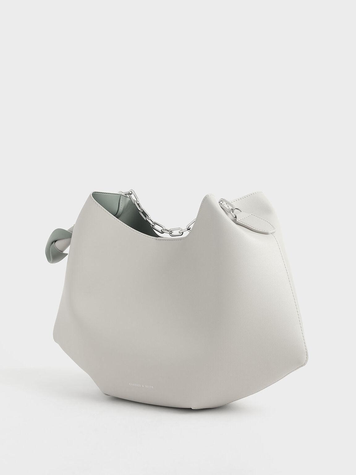 Large Chain Handle Hobo Bag, Chalk, hi-res