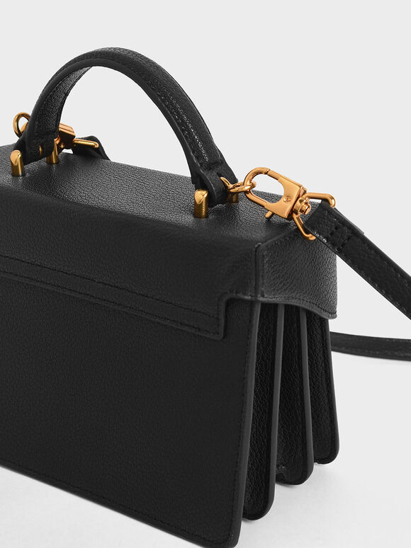 Classic Push-Lock Top Handle Bag, Black, hi-res