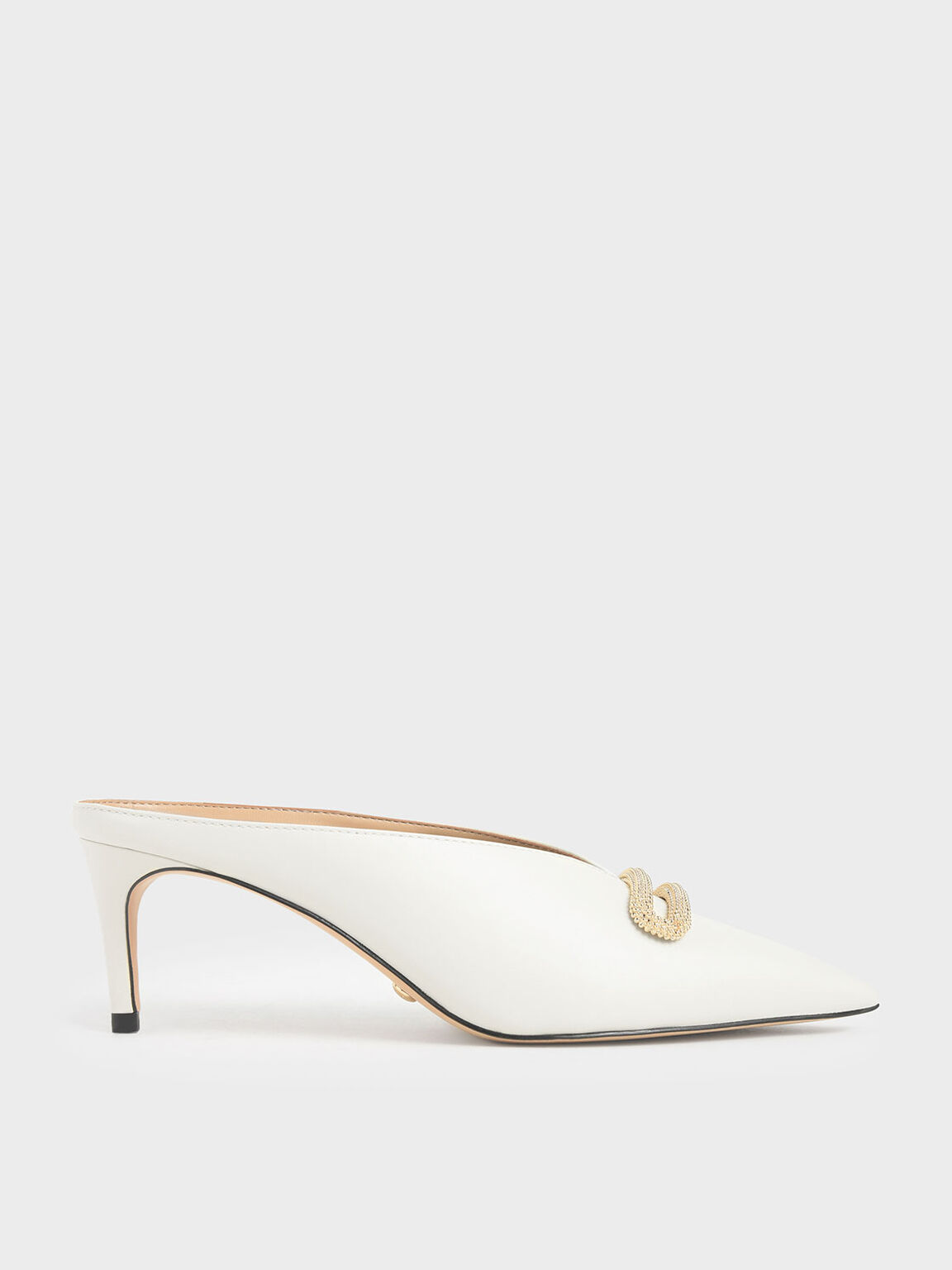 Leather Metallic Accent Heeled Mules, White, hi-res