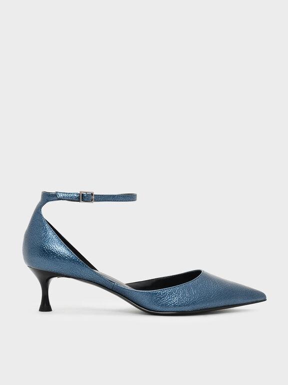 Metallic Ankle Strap Heeled Sandals, Dark Blue