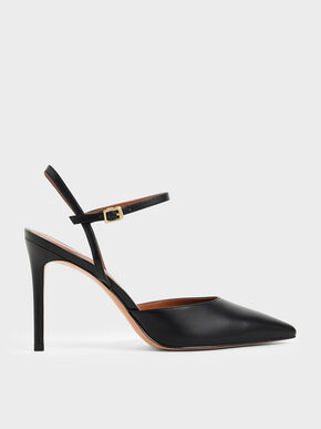 Pointed Toe Ankle Strap Pumps, Black