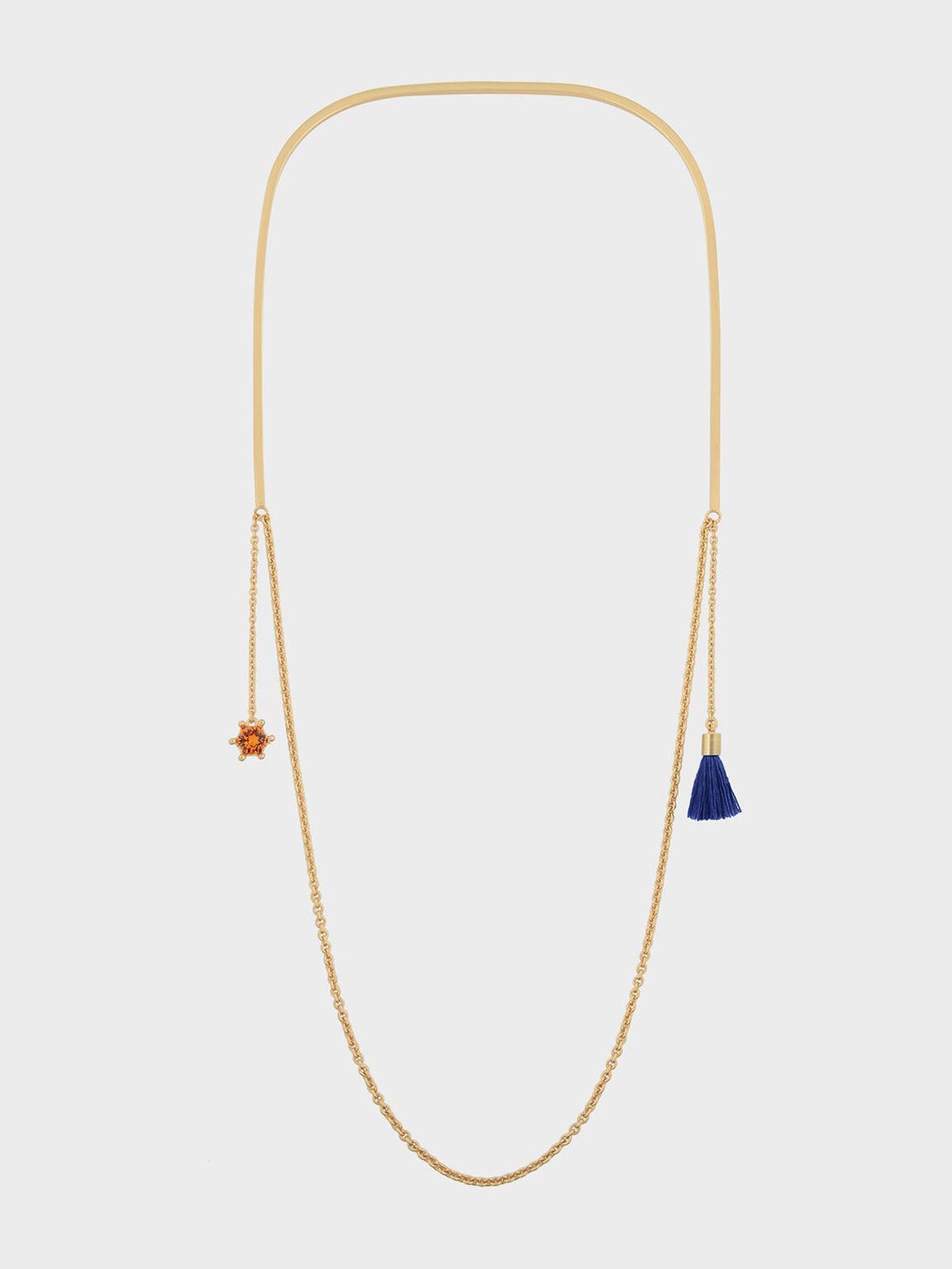 Charm Detail Necklace, Blue, hi-res