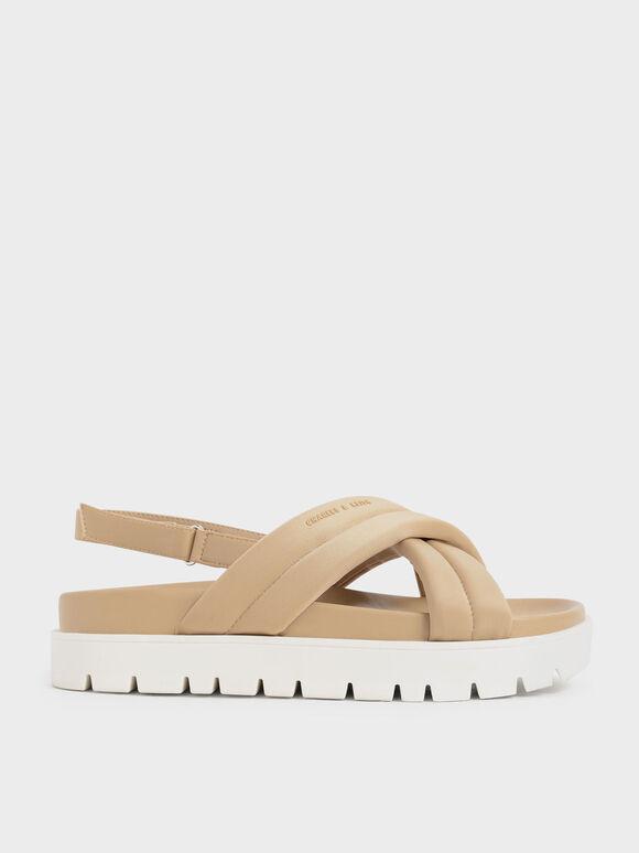 環保聚酯纖維交叉涼鞋, 柔沙色, hi-res