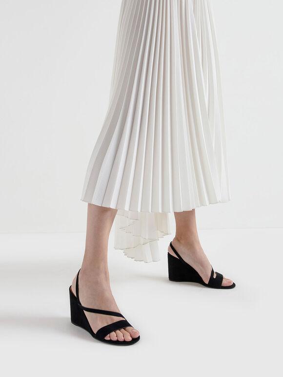 Asymmetric Strap Textured Slingback Wedges, Black, hi-res