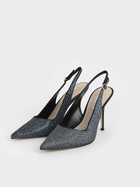 Glitter Slingback Stiletto Court Shoes, Black, hi-res