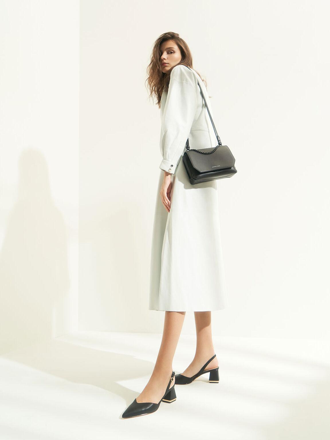 Chain Handle Shoulder Bag, Ultra-Matte Black, hi-res
