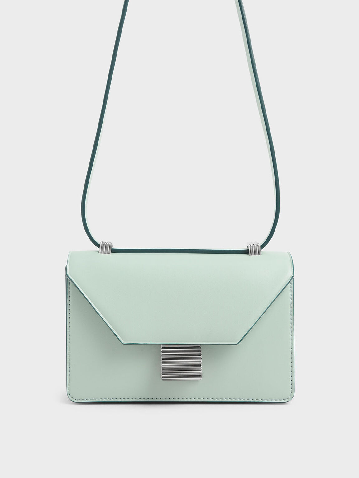 Metallic Push Lock Crossbody Bag, Mint Green, hi-res