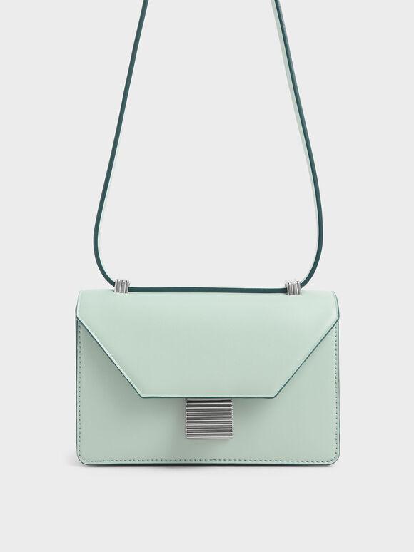 Metallic Push Lock Crossbody Bag, Mint Green, hi-res