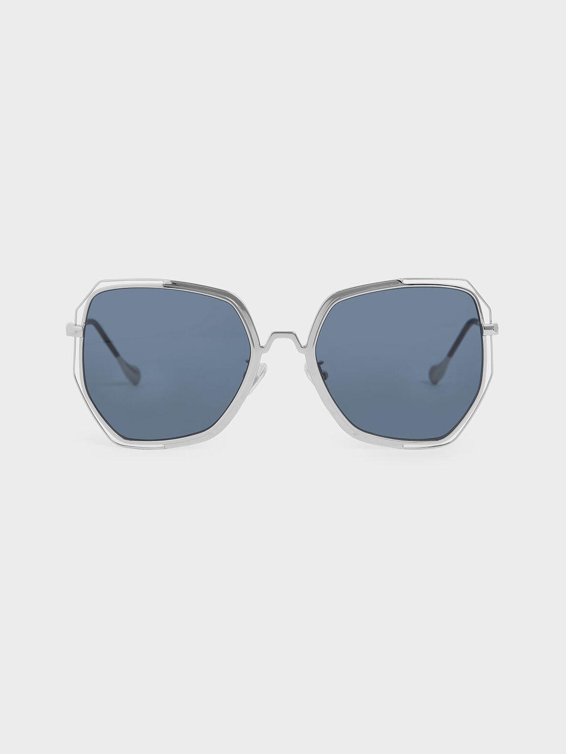 투-톤 버터플라이 선글라스, Dark Blue, hi-res
