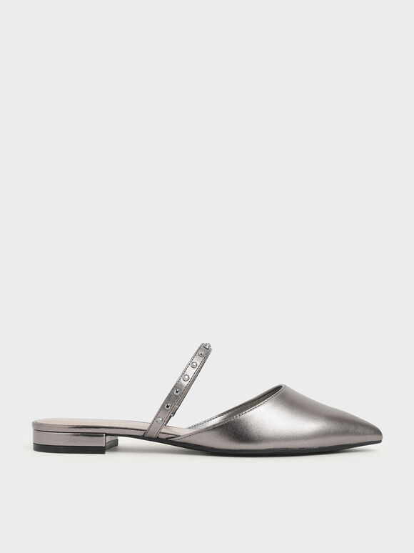 Metallic Embellished Strap Flats, Pewter, hi-res