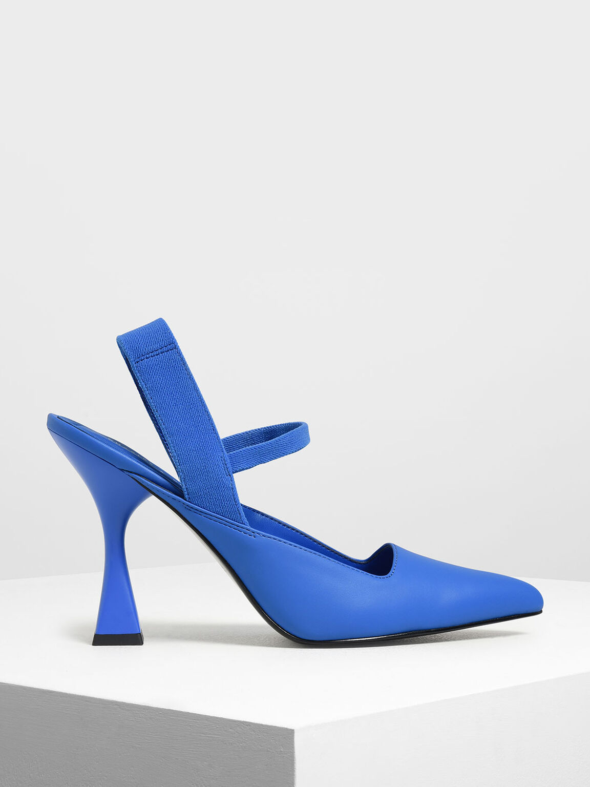 Sculptural Heel Slingback Sandals, Blue, hi-res