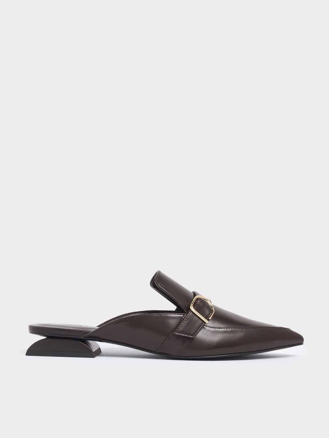 Sculptural Heel Buckle Mules, Dark Brown, hi-res