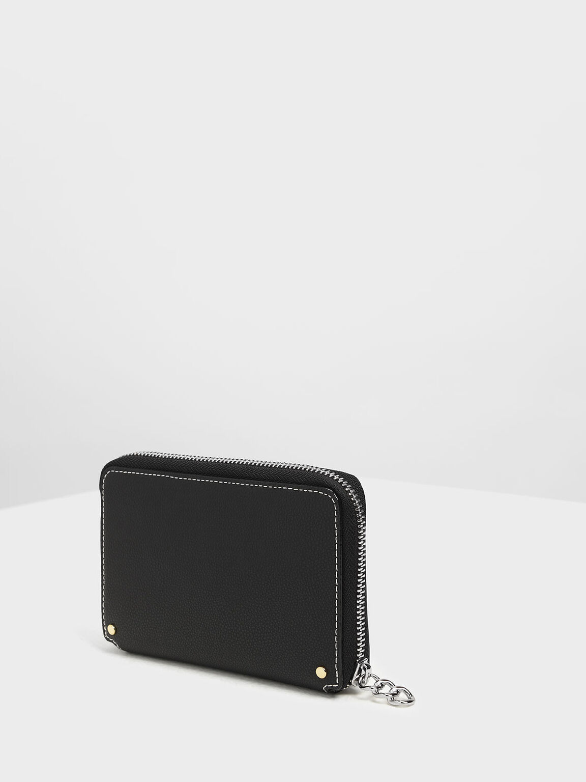 Stitching Detail Wallet, Black, hi-res