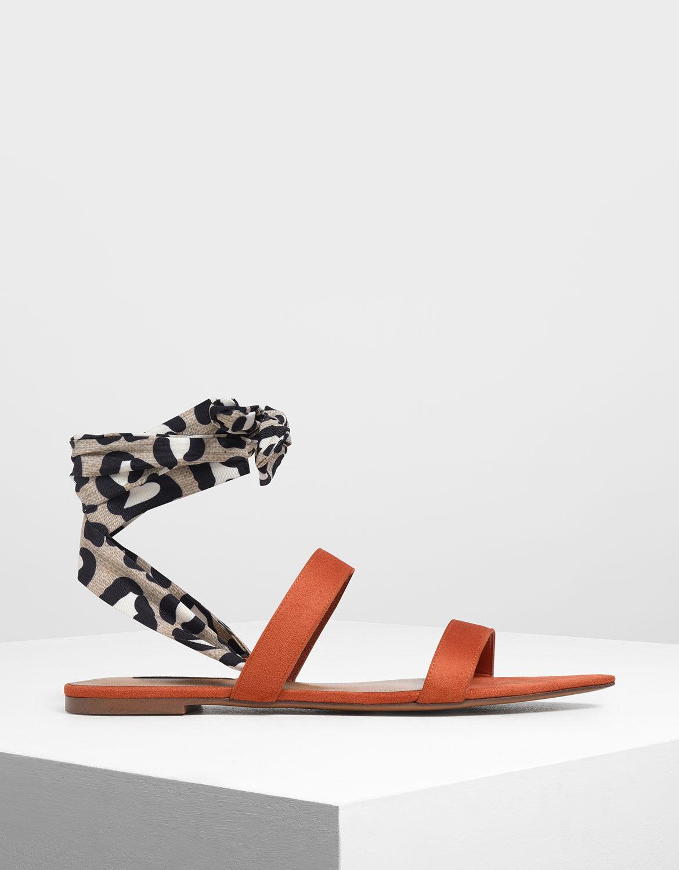 Brick Leopard Print Ankle Wrap Sandals