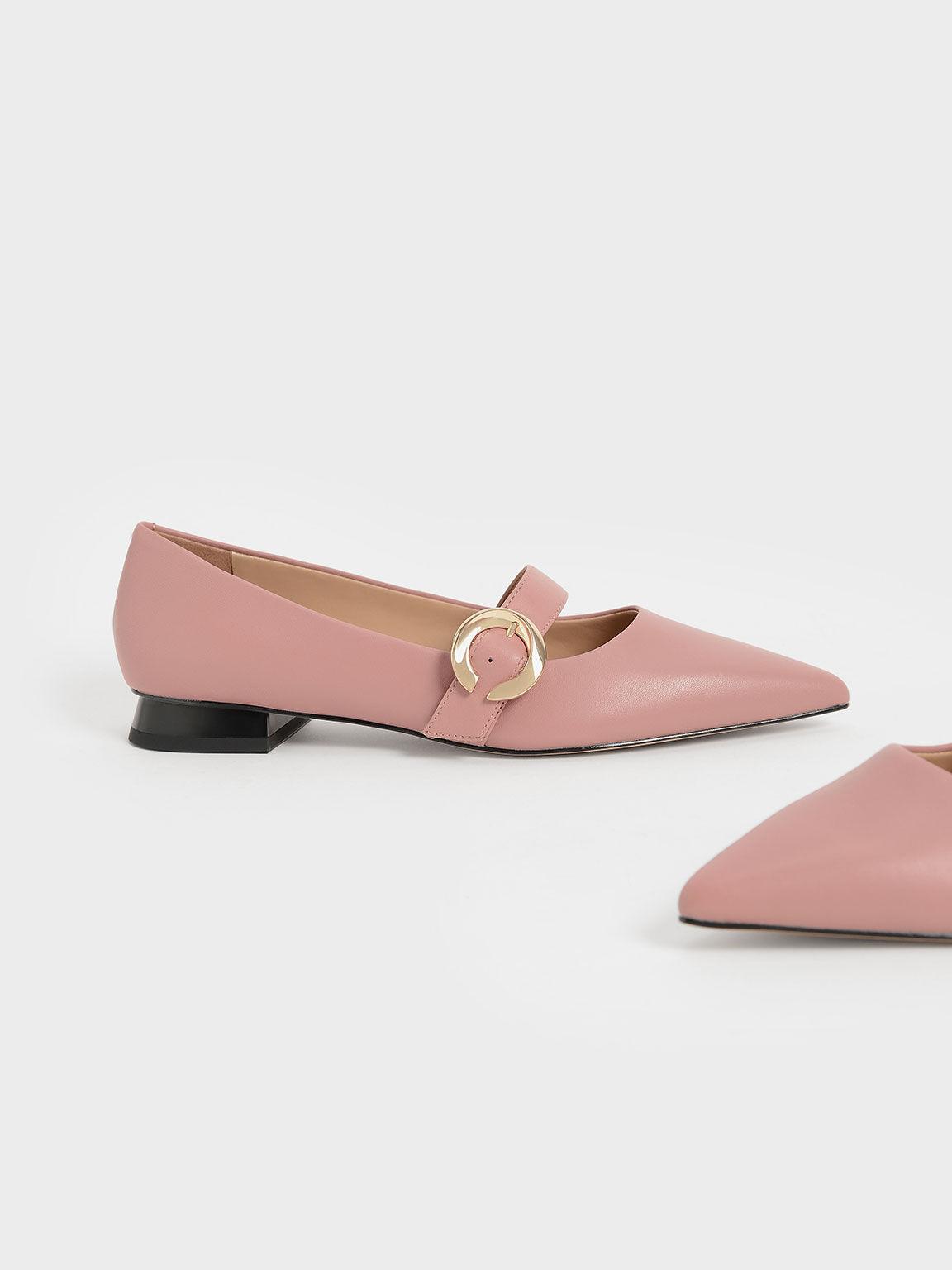 金屬圓釦真皮尖頭鞋, 粉紅色, hi-res