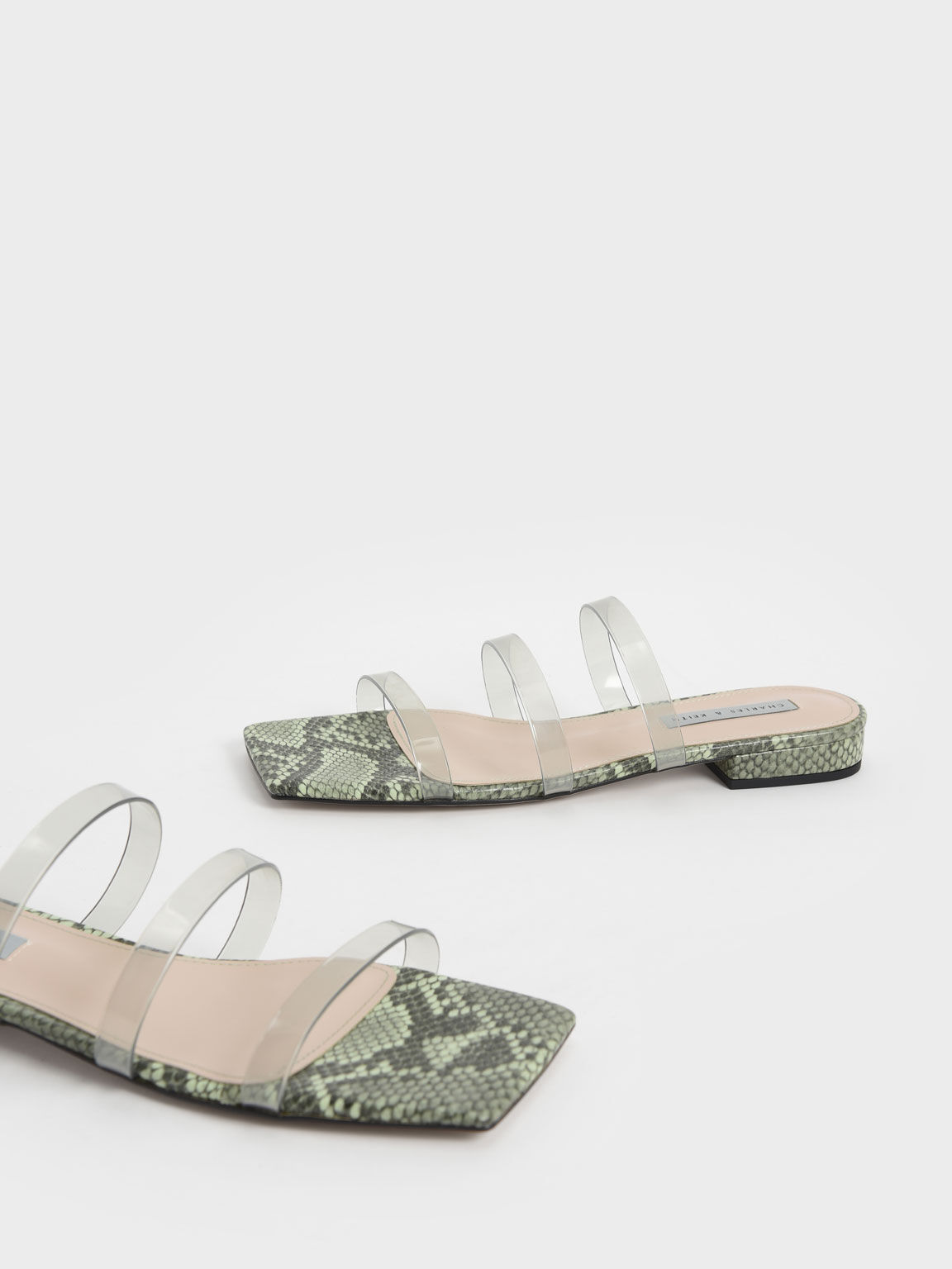Clear Strap Snake Print Slide Sandals, Animal Print Green, hi-res