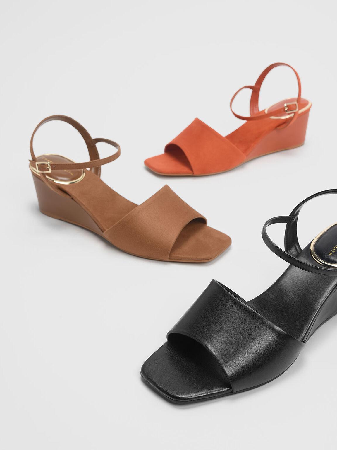 Ankle Strap Wedges, Black, hi-res