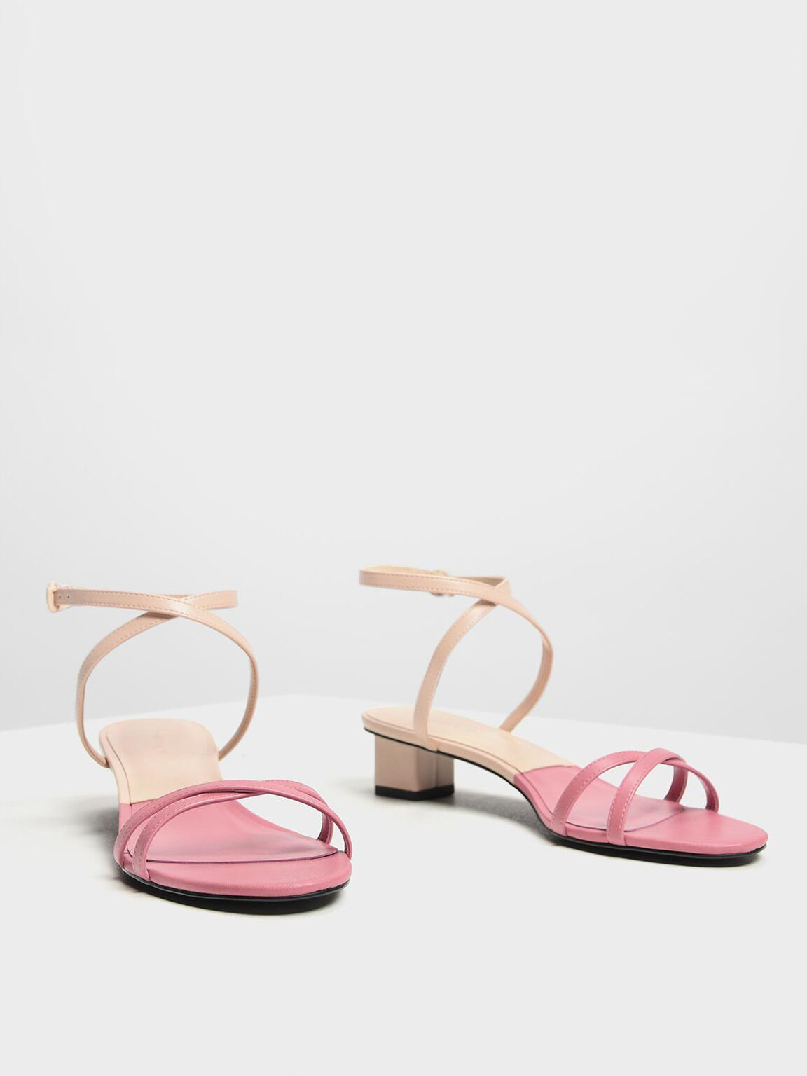 Two-Tone Criss Cross Low Heel Sandals, Pink, hi-res