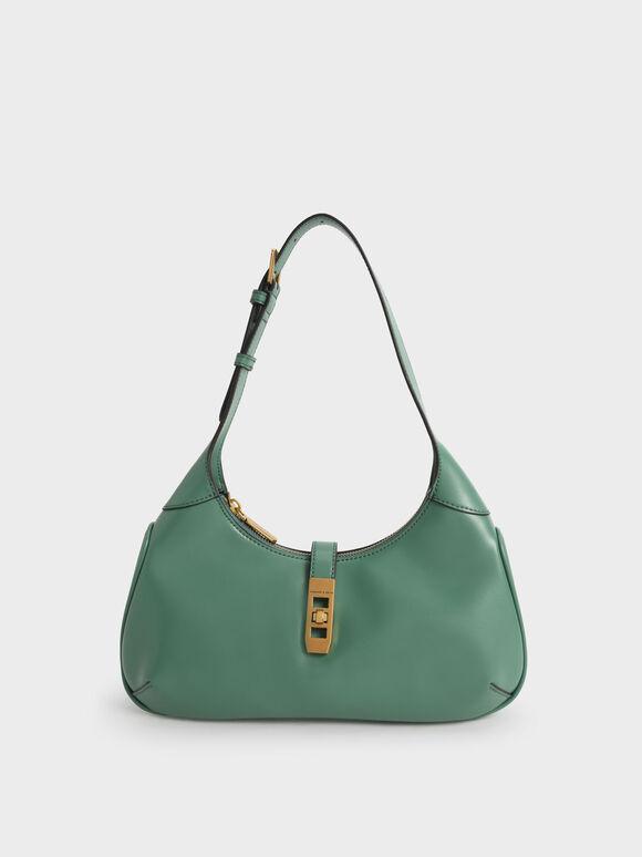 Metallic Accent Hobo Bag, Green, hi-res