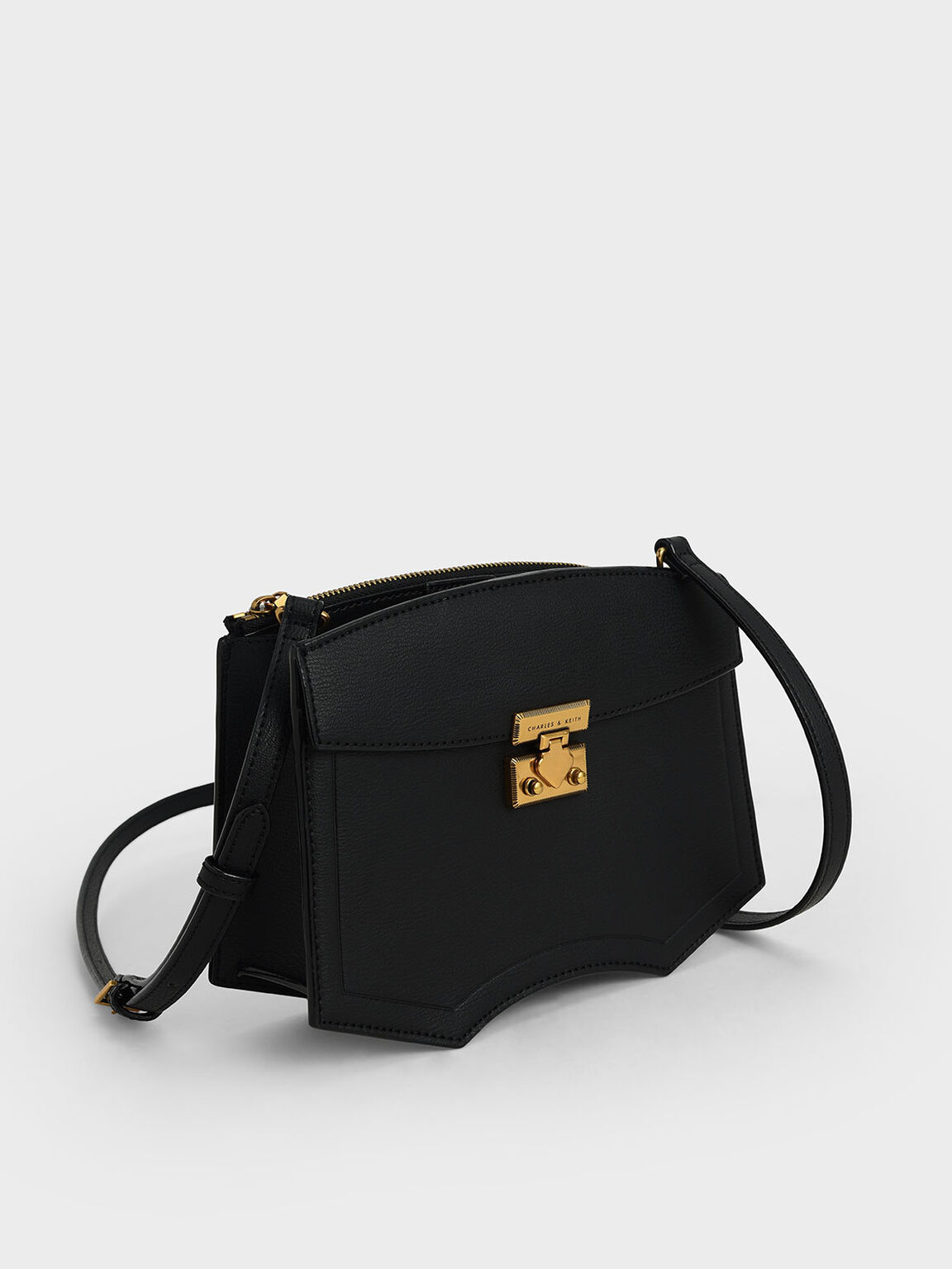 Sculptural Crossbody Bag, Black, hi-res