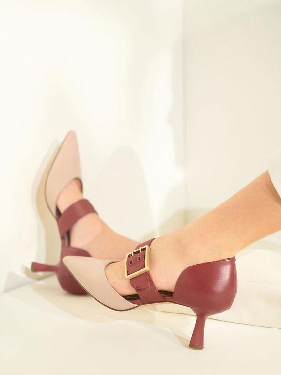 方釦尖頭瑪莉珍鞋, 磚紅色, hi-res