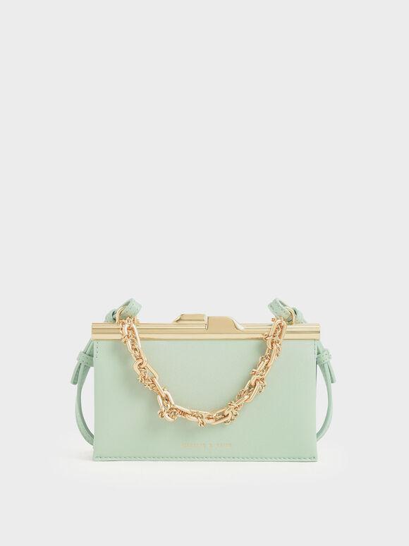 Boxy Chunky Chain Clutch, Mint Green, hi-res