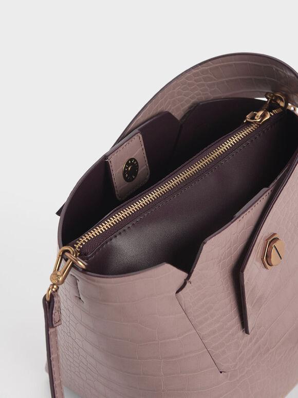 Croc-Effect Wristlet Handle Bucket Bag, Mauve, hi-res