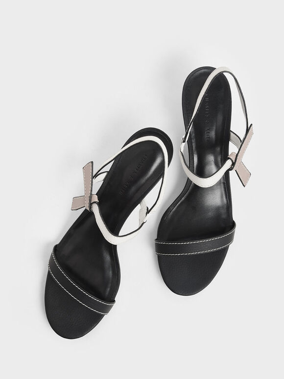 Two-Tone Knotted Bow Cone Heels, Black, hi-res