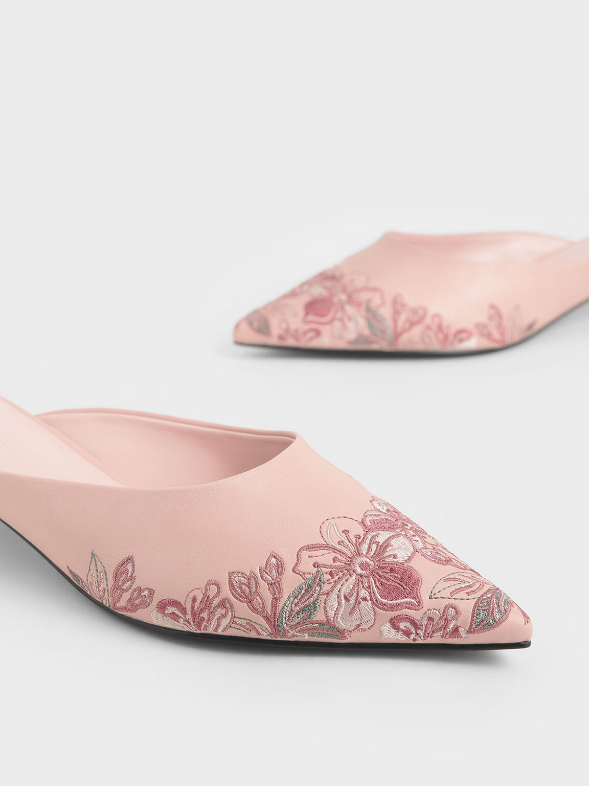 Embroidered Floral Mules, Pink, hi-res