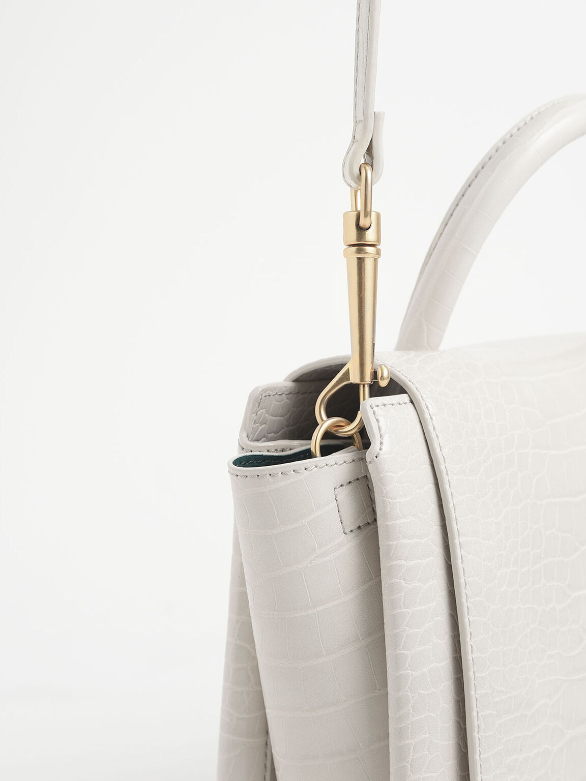 Croc-Effect Top Handle Trapeze Bag, Cream, hi-res