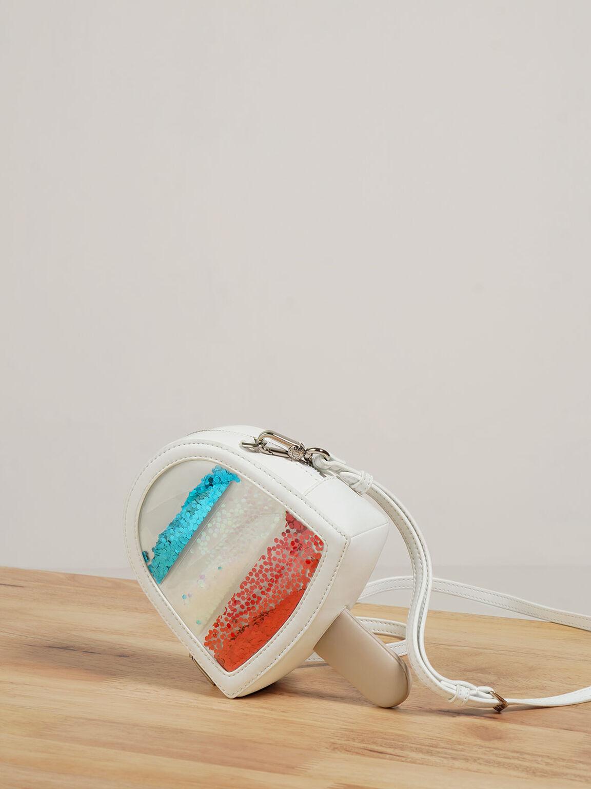 兒童冰淇淋斜背包, 白色, hi-res