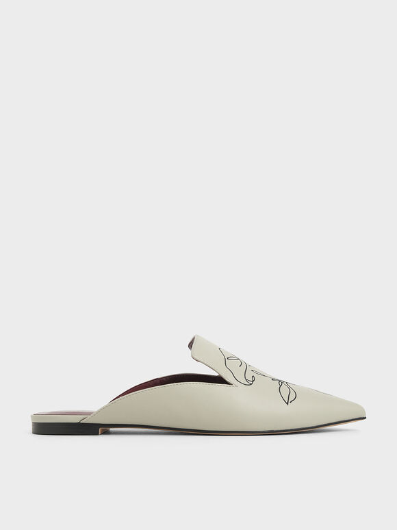 Floral Embroidered Pointed Toe Mules, Chalk, hi-res