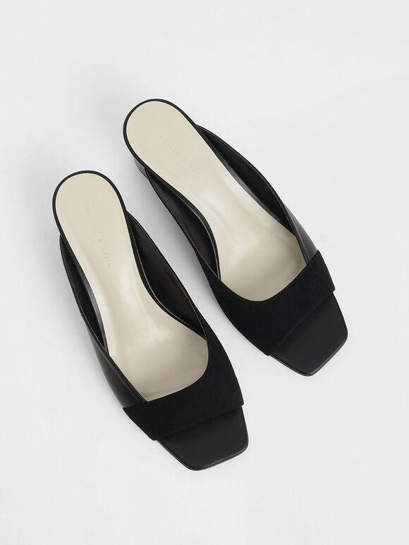 Asymmetrical Open Toe Wedges, Black, hi-res