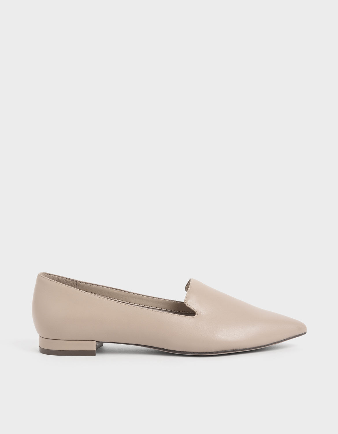 Beige Pointed Toe Loafer Flats