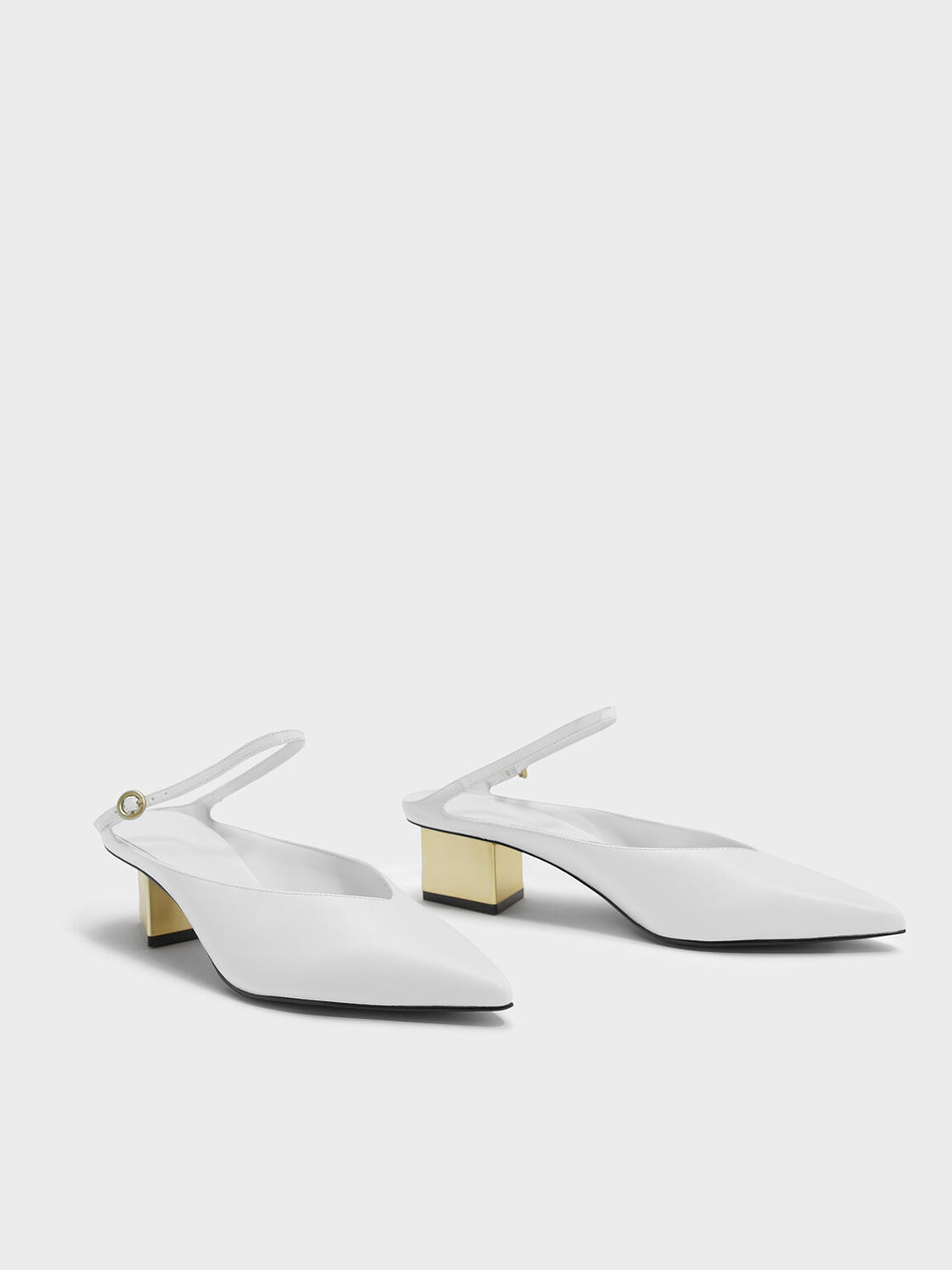 Metallic Heel Mules, White, hi-res