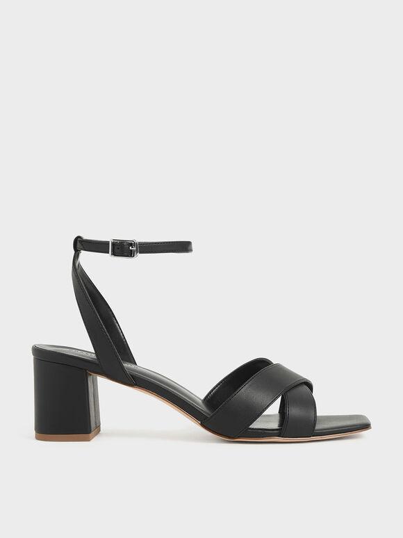 交叉寬帶涼鞋, 黑色, hi-res