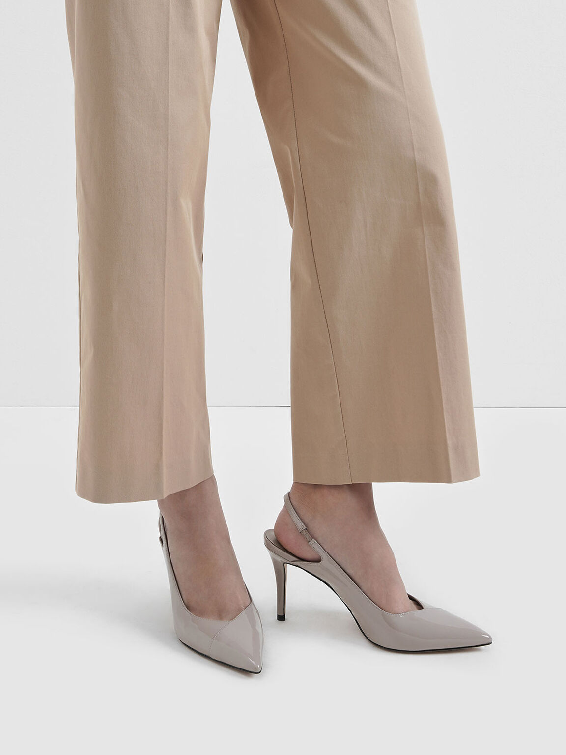 Patent Slingback Stiletto Pumps, Nude, hi-res