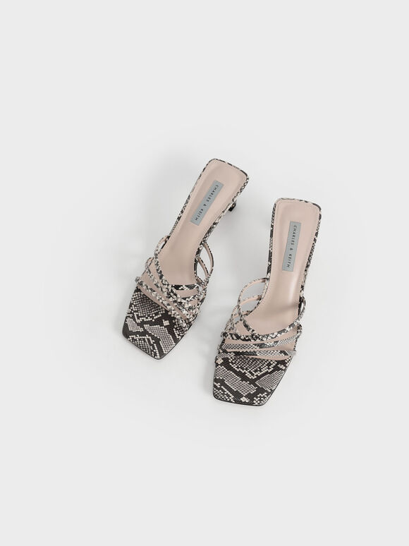 Snake Print Asymmetric Strappy Sandals, Animal Print Natural, hi-res