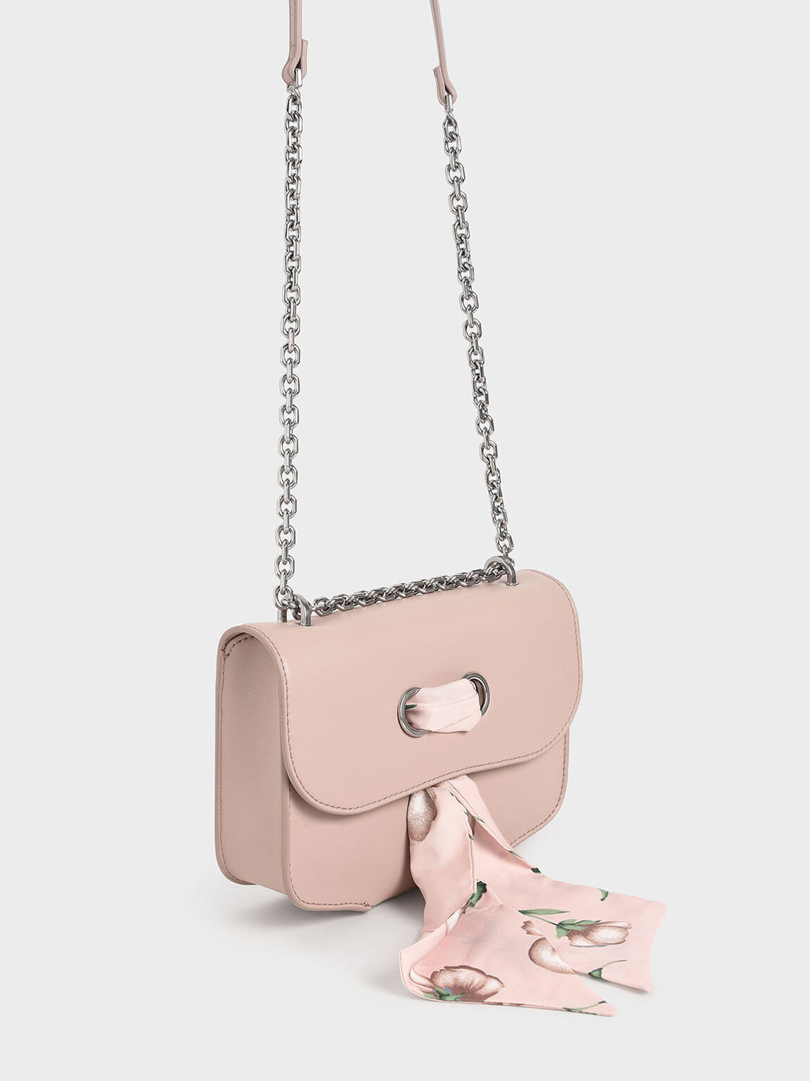 Chiffon Scarf Double Strap Shoulder Bag, Pink, hi-res