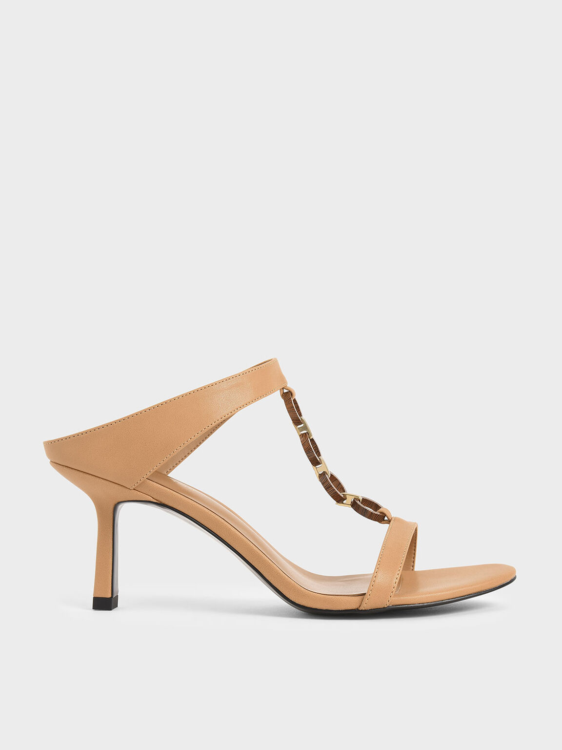 Wood-Effect Chain Link Mules, Nude, hi-res