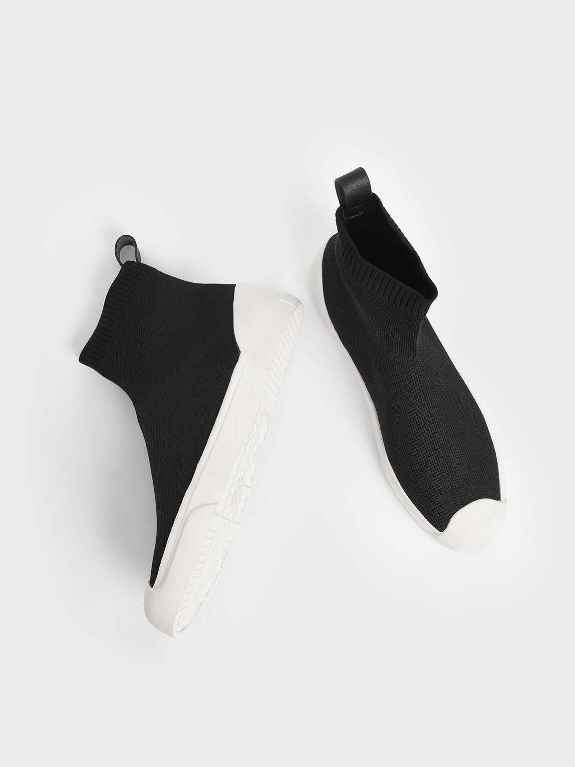 Knitted High Top Slip-On Sneakers, Black, hi-res
