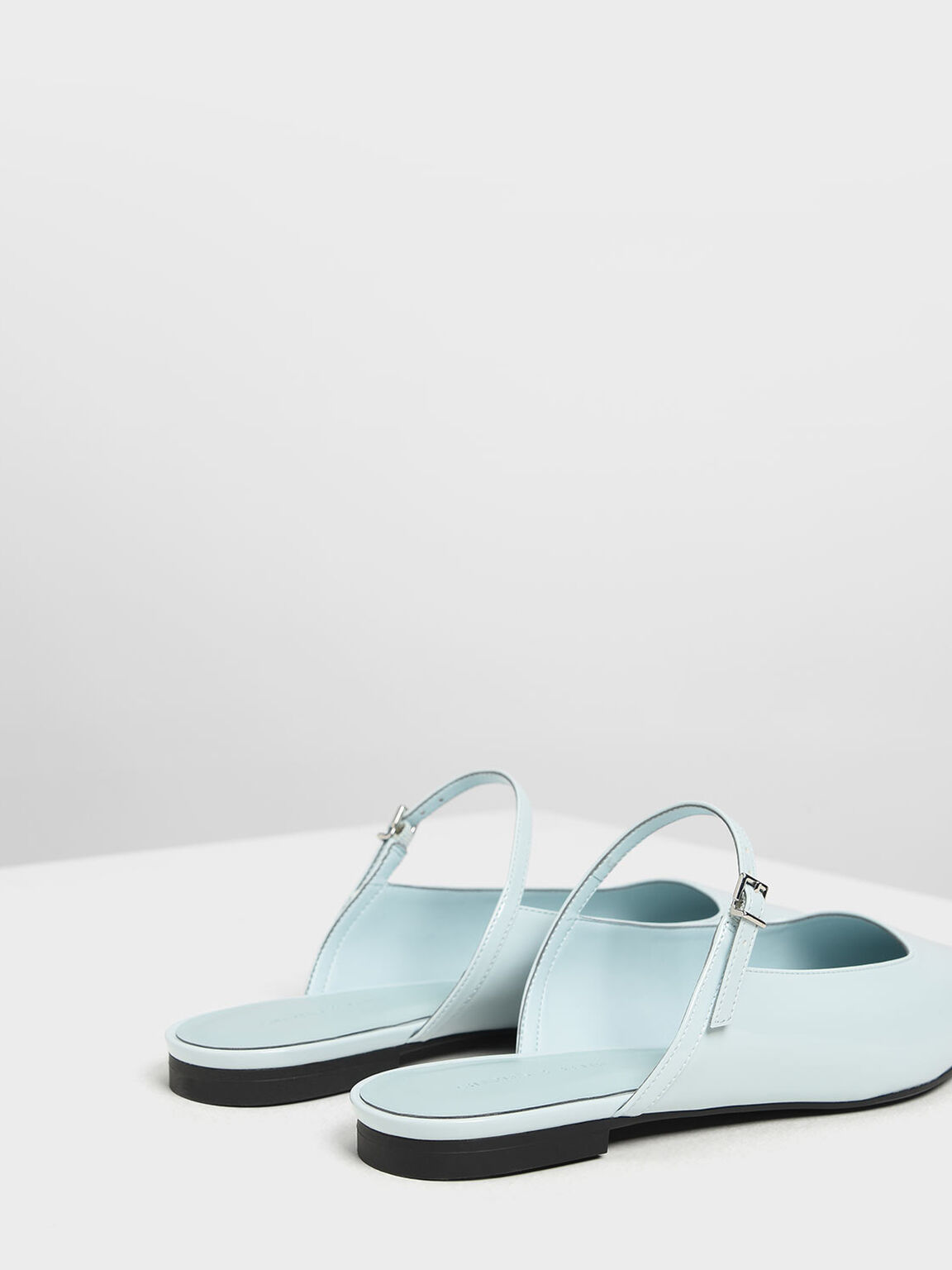 Patent Mary Jane Mules, Light Blue, hi-res