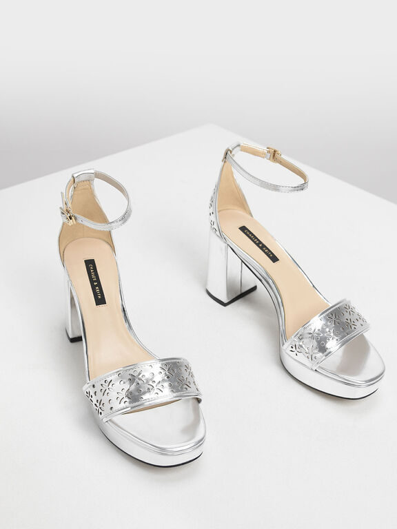 Motif Chunky Platform Heels, Silver, hi-res