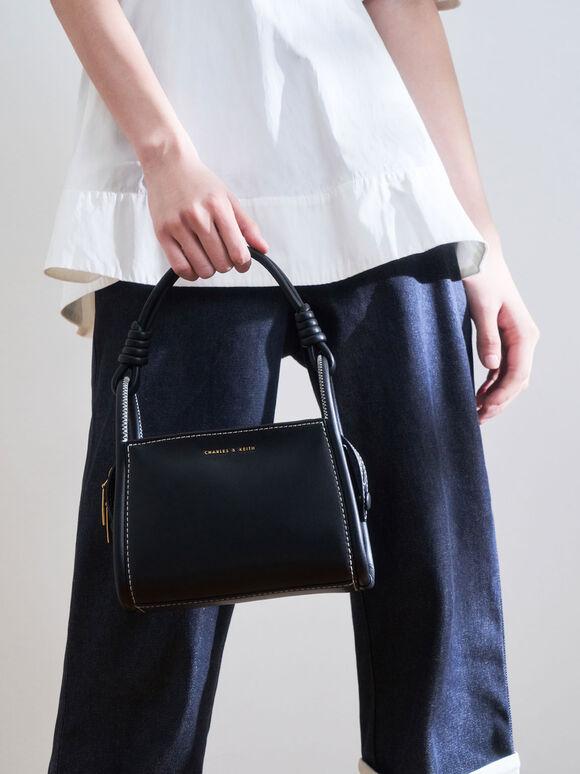 Knotted Handle Boxy Bag, Black, hi-res