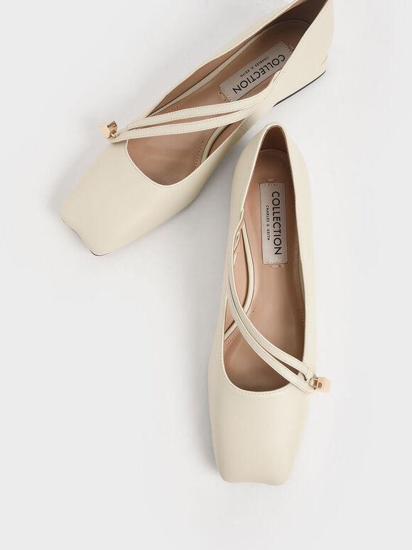 真皮金屬塊低跟鞋, 石灰白, hi-res