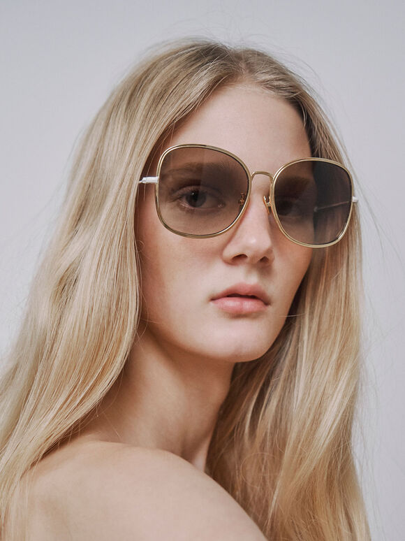 Gradient Tint Butterfly Sunglasses, Gold, hi-res