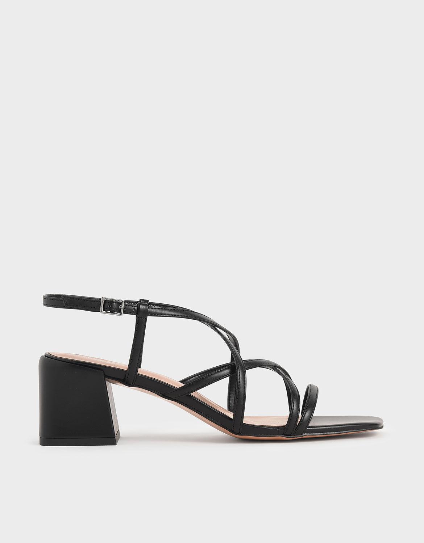Black Criss-Cross Block Heel Sandals